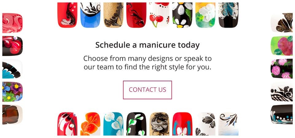 Schedule a manicure today | Choose from many designs or speak to our team to find the right style for you. | Contact Us